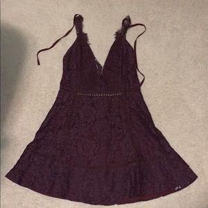 Purple V-neck mini dress